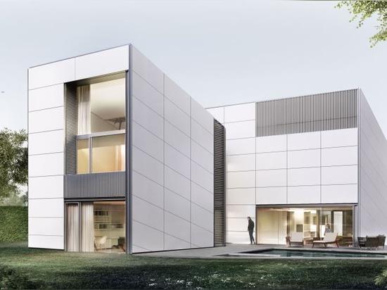 La conception de cette villa avec rainscreen des façades