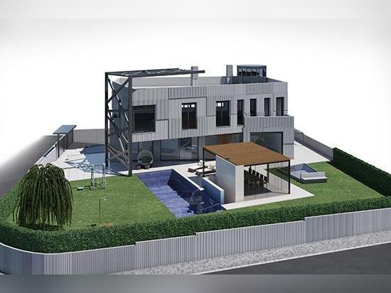 Vila avec le revêtement de façade en granit gris