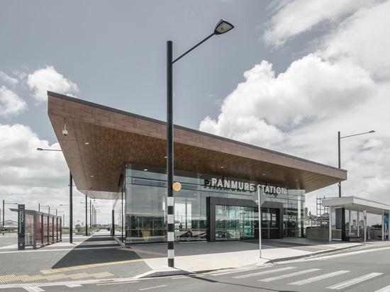 Laminam pour la façade aérée de la station de Panmure à Auckland, Nouvelle-Zélande