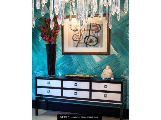 Lustre de Serip Aqua Collection dans un projet résidentiel de Singapour