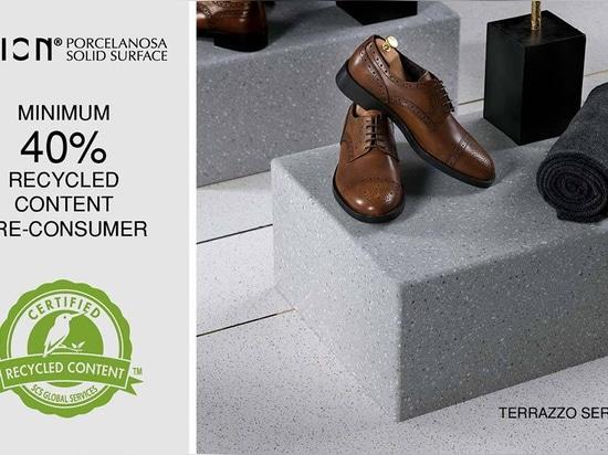 KRION® consolide son compromis social en augmentant sa certification SCS : un minimum de 40 % de contenu recyclé pour Terrazzos Series