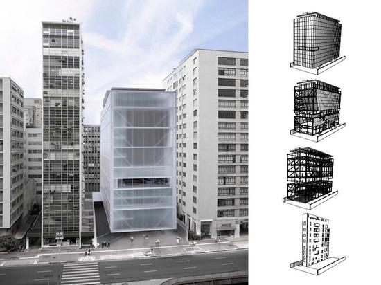 IMS – concept de MOREIRA SALLES d'INSTITUTO par l'architecte Andrade Morettin. Structure par YCON Engenharia.