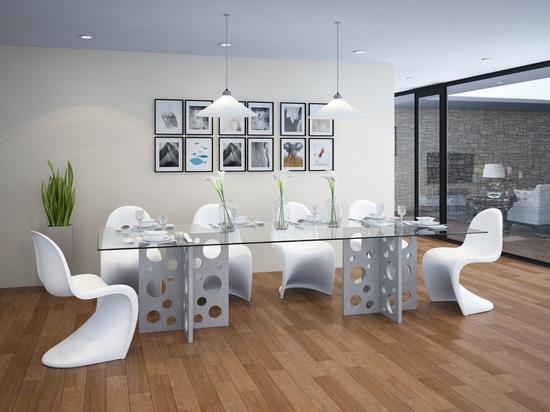 Table concrète rectangulaire de bulle avec le dessus en verre pour la salle à manger
