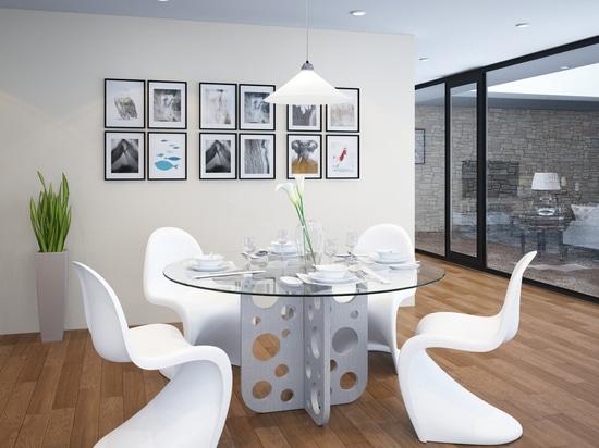 Table concrète ronde de bulle avec le dessus en verre pour la salle à manger