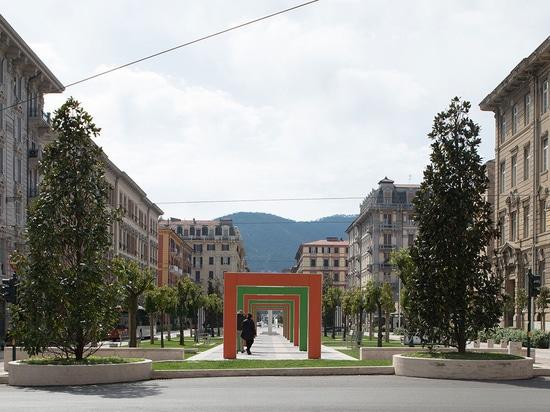 Place de Verdi avec du travertin léger