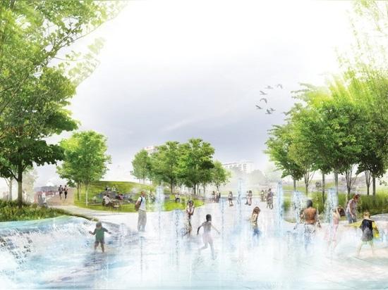 la bande de studio + les SCAPE indiquent des plans pour remodeler un parc de bord de mer à Memphis, Tennessee