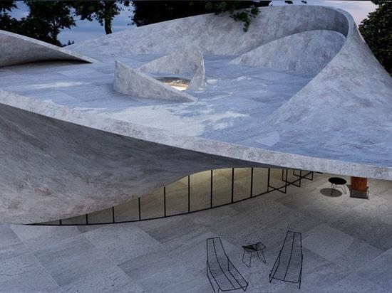 le gibbon d'Antony traduit la surface de bande de mobius en maison en béton sculpturale
