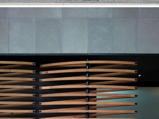 Détail de conception architecturale – écrans en bois de pivotement