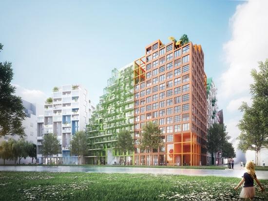 Bloc de Manuelle Gautrand Designs Futuristic Housing pour Amsterdam