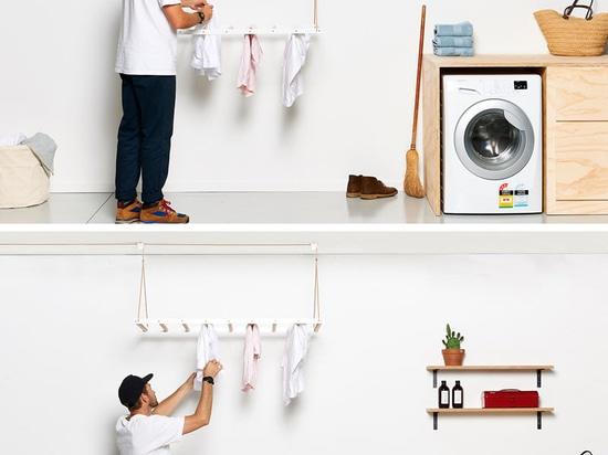 Depuis des hausses chaudes d'air, ceci suspendu séchant le support est conçu pour tirer profit de cela en élevant des vêtements jusqu'au plafond