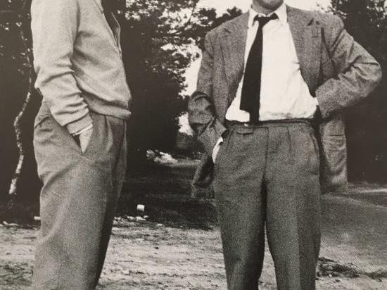 Fritz Hahne (à droite) sur le site de la future usine d'Espelkamp, 1954.