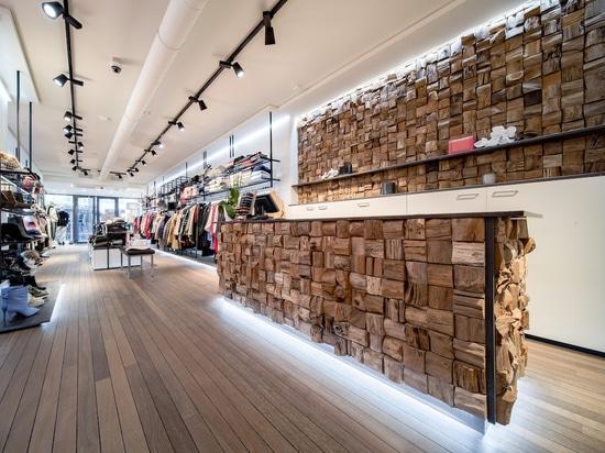 Projet avec le design Qubow à partir de bois recyclé Teakwall