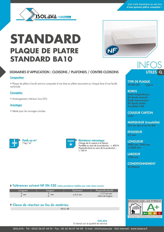 Plaque De Platre Ba10 à plaque standard ba10 - isolava - catalogue pdf | documentation