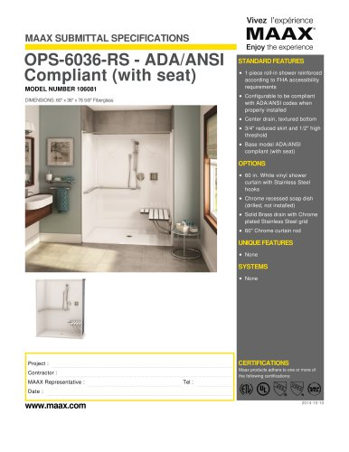 OPS-6036-RS - ADA/ANSI Compliant (with seat)