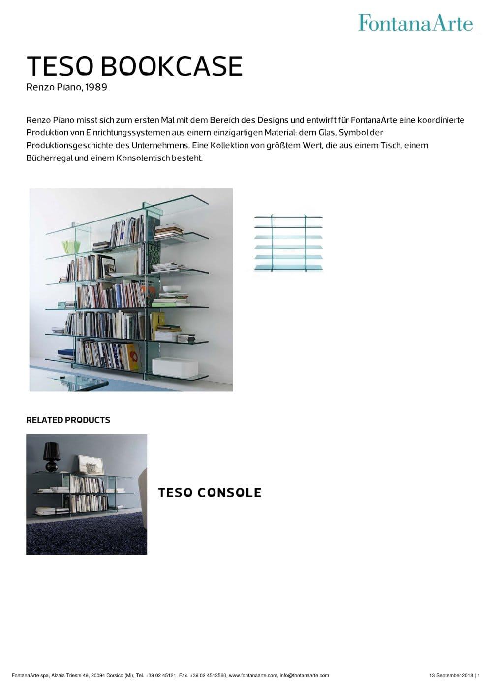 TESO BOOKCASE - FontanaArte - Catalogue PDF | Documentation | Brochure