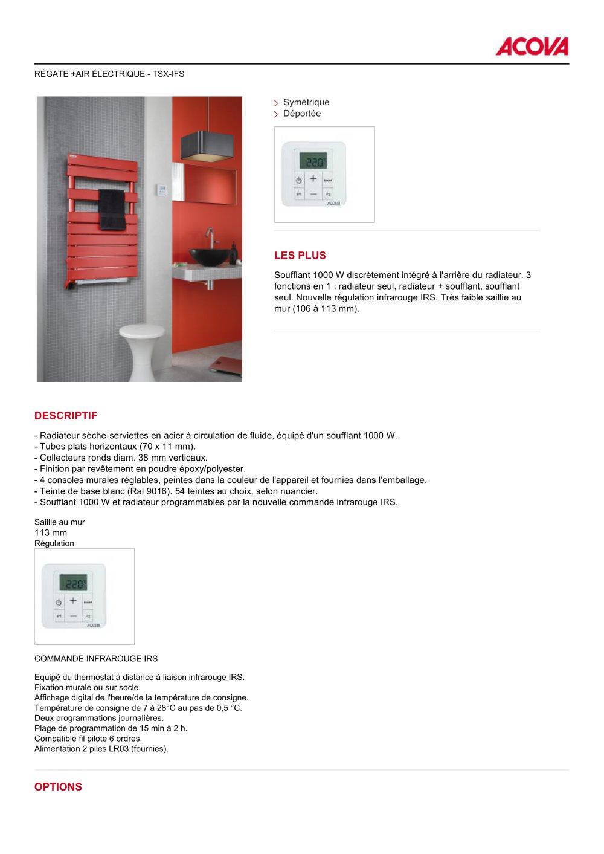 7aa0d00f596614 Radiateurs Sèche-serviettes RÉGATE +AIR ÉLECTRIQUE - TSX-IFS - 1   2 Pages