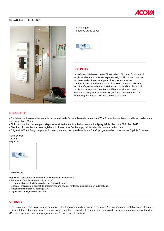 121bbde2b7d2dc Radiateurs Sèche-serviettes RÉGATE ÉLECTRIQUE - TSX - 1   2 Pages