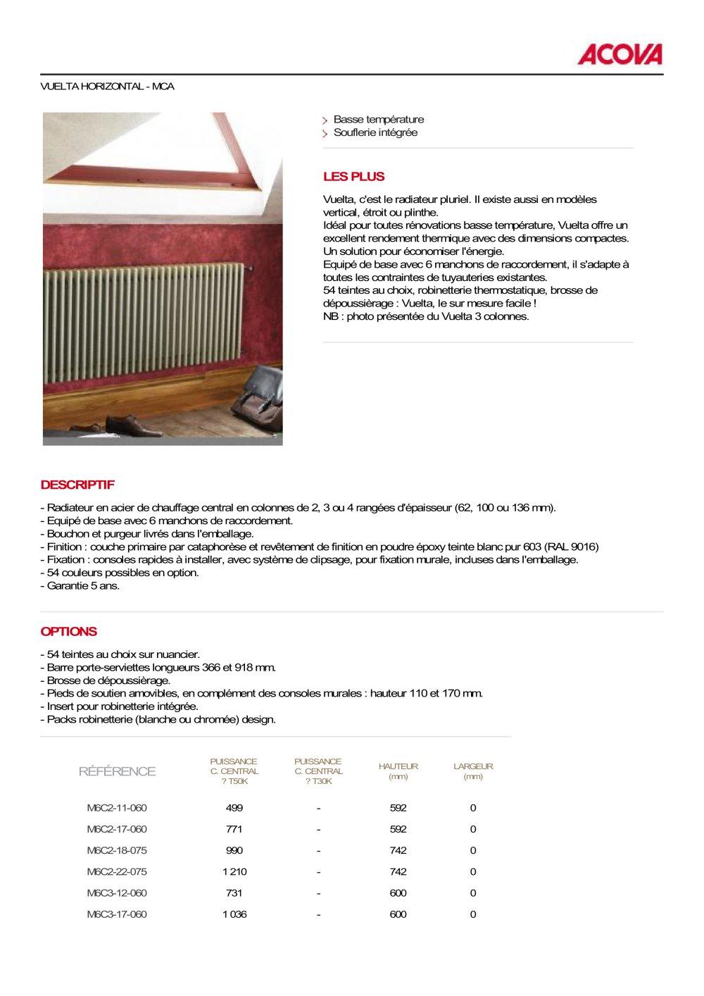 Acova Garantie intérieur vuelta horizontal - acova - catalogue pdf | documentation | brochure