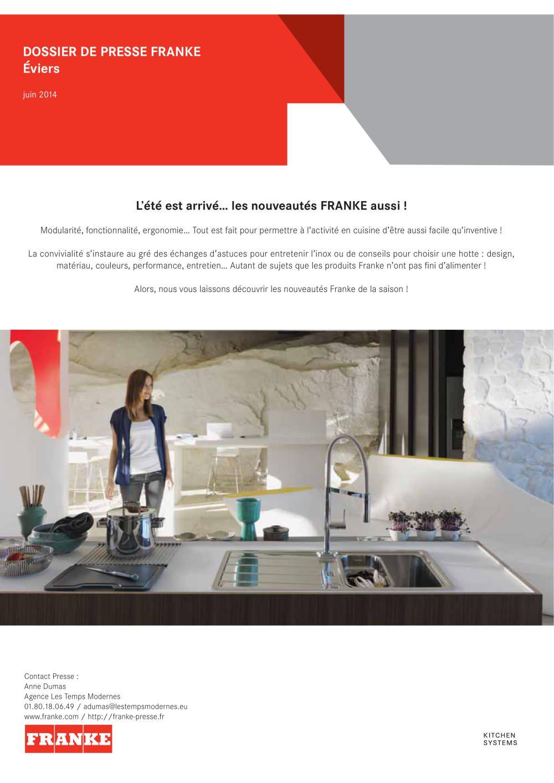 Nouveaute Eviers Franke Catalogue Pdf Documentation Brochure