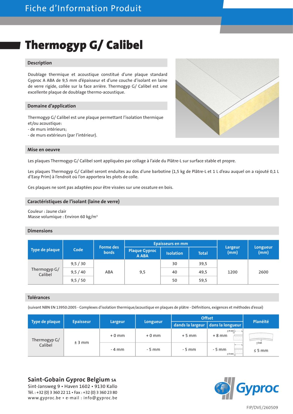Masse Volumique Laine De Bois dedans thermogyp g/ calibel - british gypsum limited - catalogue pdf