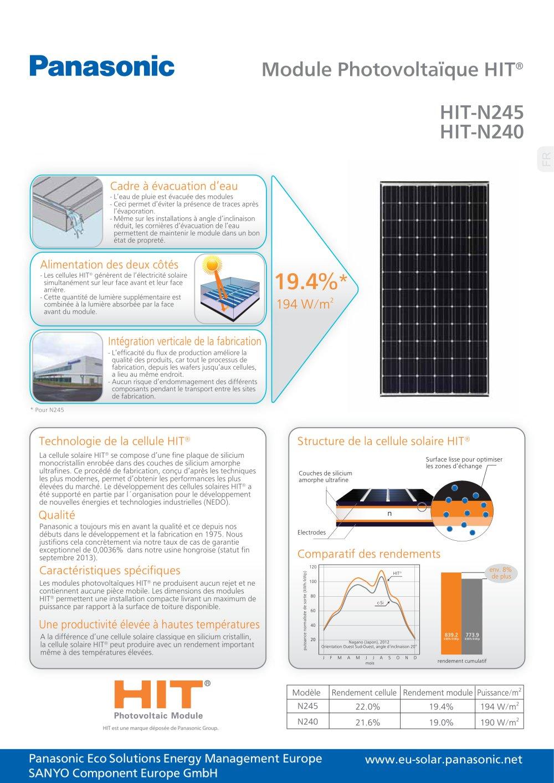 Cellule Photovoltaïque En Silicium Amorphe dedans module photovoltaïque hit hit-n245 hit-n240 - panasonic solar