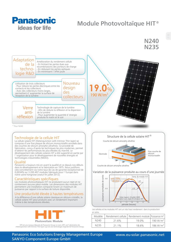 Cellule Photovoltaïque En Silicium Amorphe à module photovoltaïque n240 n235 - panasonic solar - catalogue pdf