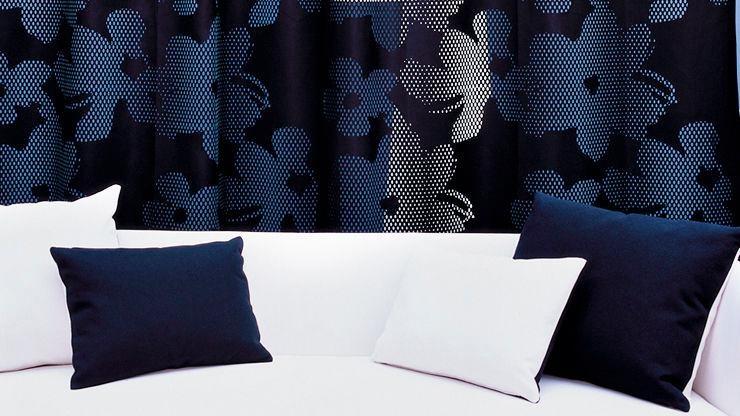 tissu pour rideaux / à fleurs / en polyester / non feu