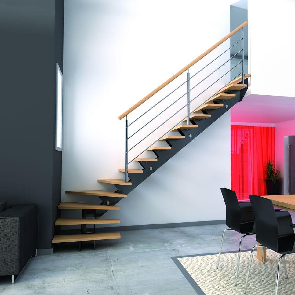 Escalier quart tournant - ALIZÉE - RIAUX ESCALIERS - structure en métal / marche en bois / sans ...