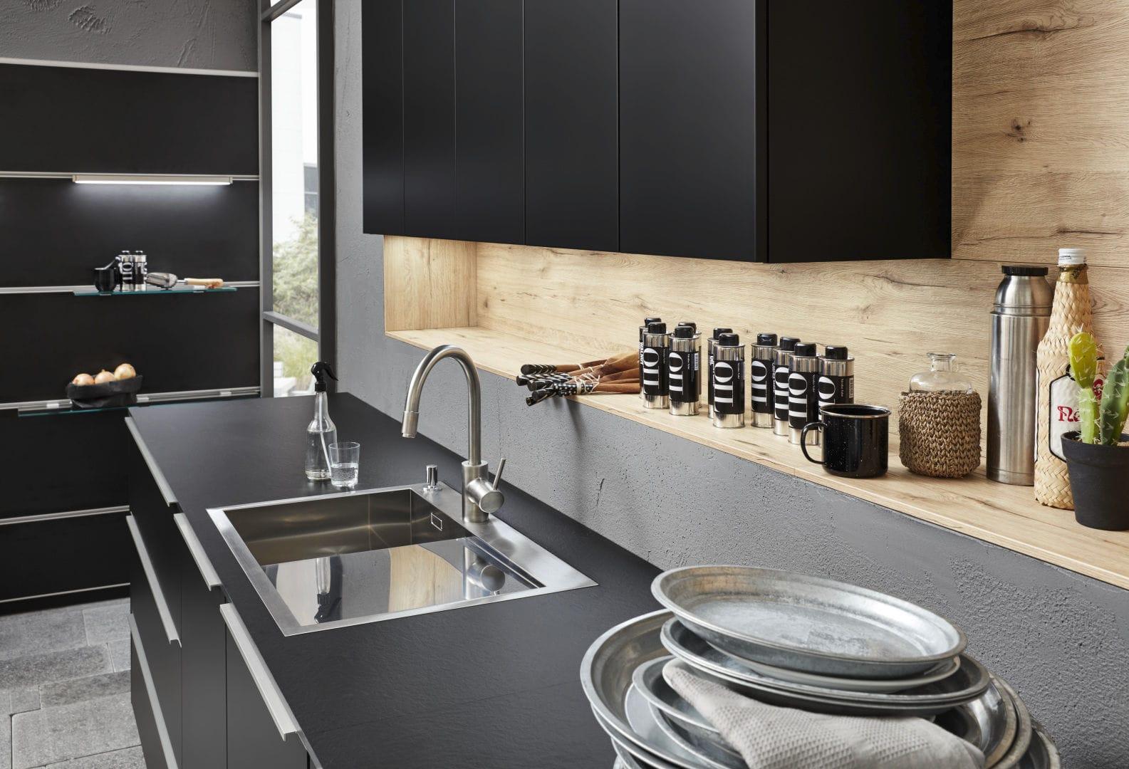 Plan Travail Cuisine Noir plan de travail en bois / de cuisine / noir - soft lack