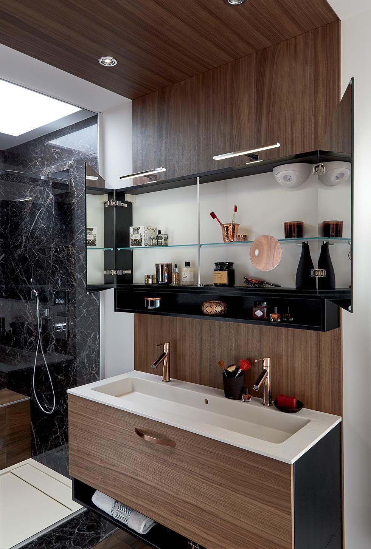 Salle de bain contemporaine - AMBIANCE ECRIN - Mobalpa - en noyer