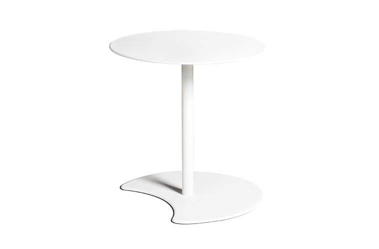 Table d\'appoint contemporaine / ronde / de jardin / blanche ...