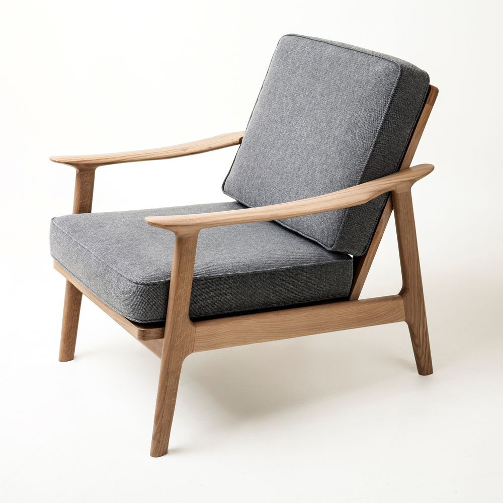 Fauteuil Design Scandinave En Tissu En Chene En Bois