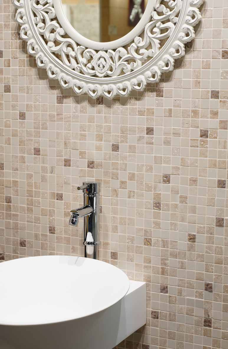 Mosaïque de salle de bain / murale / en marbre / beige ...
