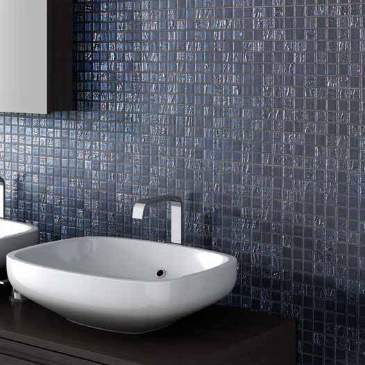 Mosaïque de salle de bain / murale / en verre / blanche ...