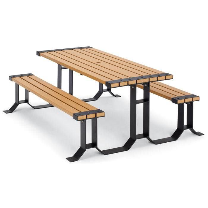 Ensemble table et bancs contemporain / en plastique recyclé ...