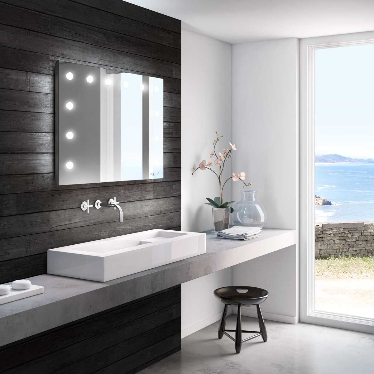 Miroir de salle de bain mural / lumineux / de chambre à ...