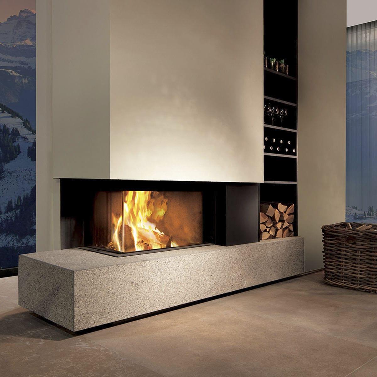 Cheminee A Bois W65 38c Attika Feuer Ag Contemporaine A Foyer Ferme D Angle
