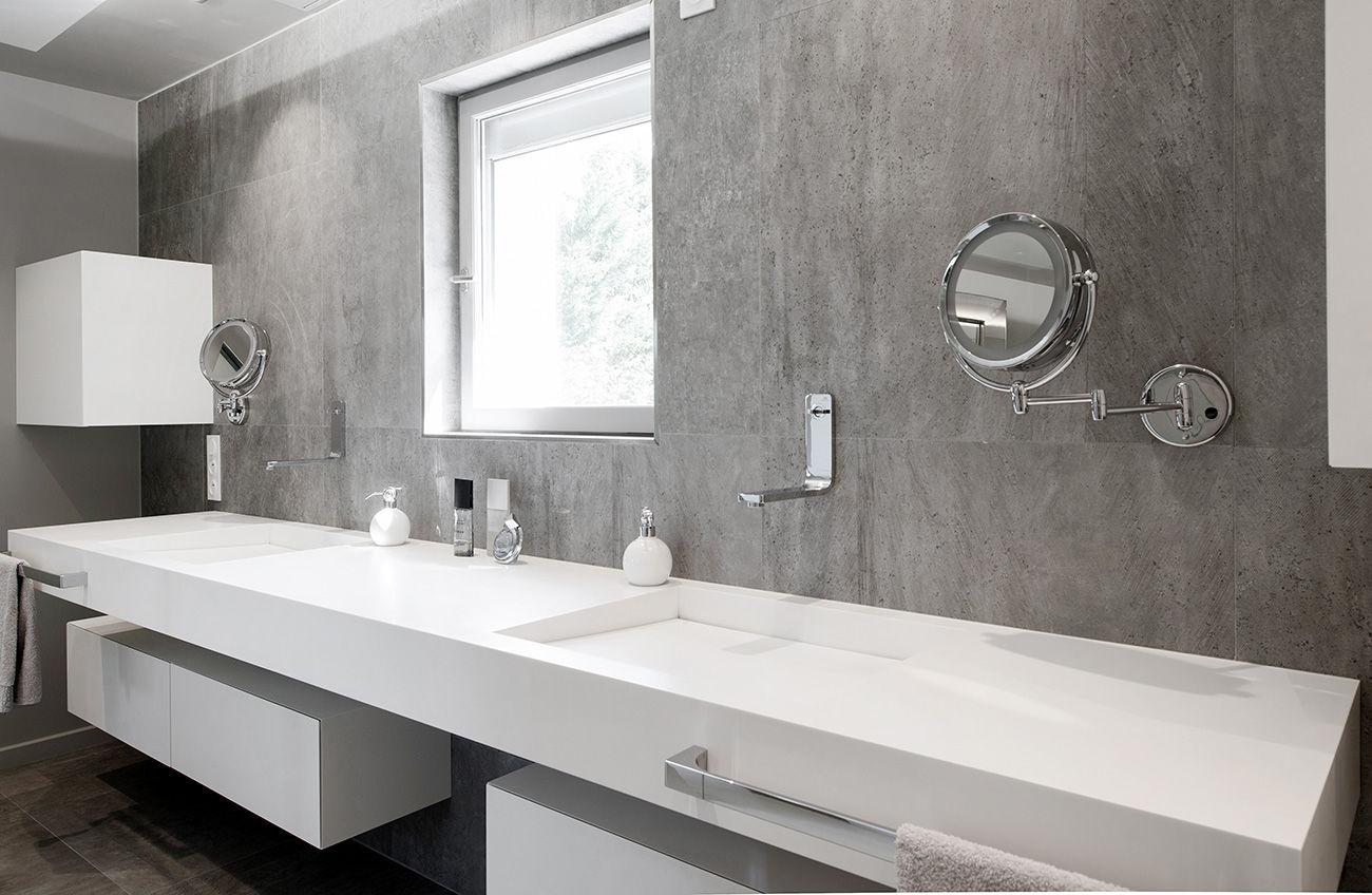 Vasque Double Suspendue Rectangulaire En Solid Surface