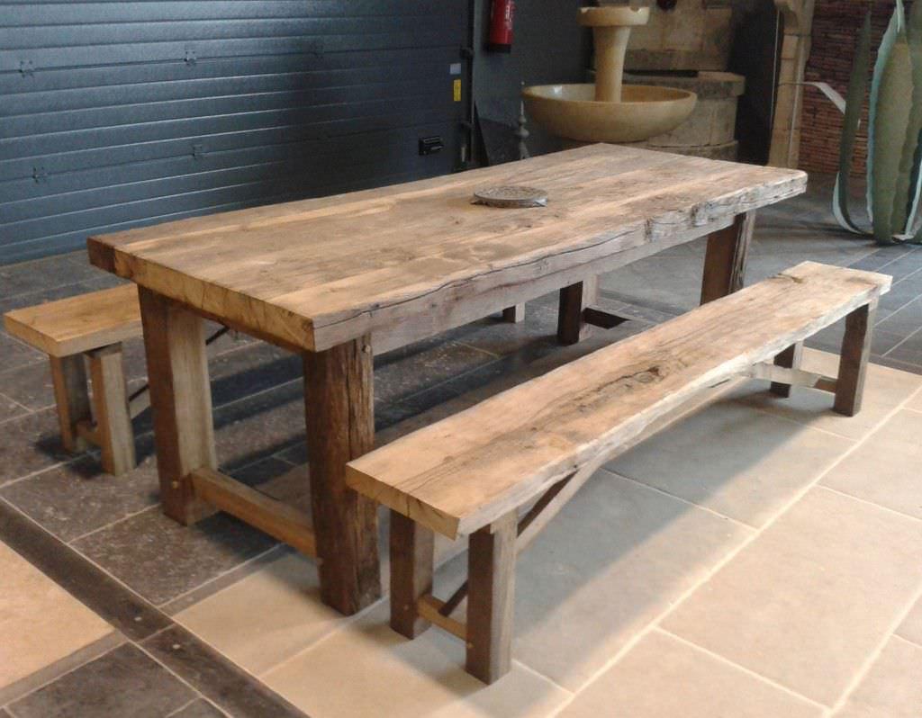 Ensemble table et bancs contemporain / en bois / extérieur ...