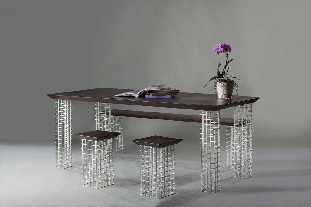 En Rectangulaire Acier Table Contemporaine Fer Corten iOkZuPX