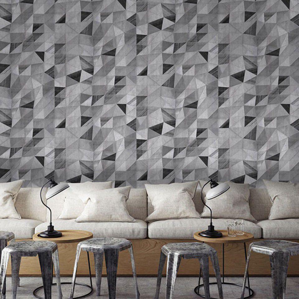 Papier Peint Capitonné Gris papier peint contemporain / en vinyle / à motif géométrique
