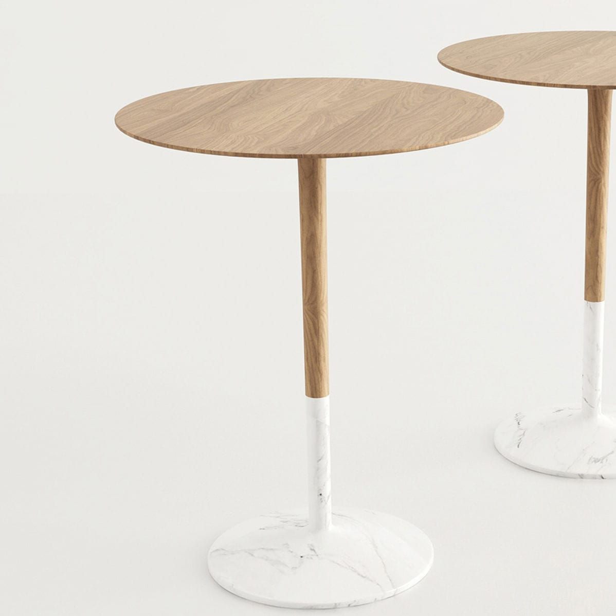 Table Bistrot Contemporaine En Bois En Marbre Ronde