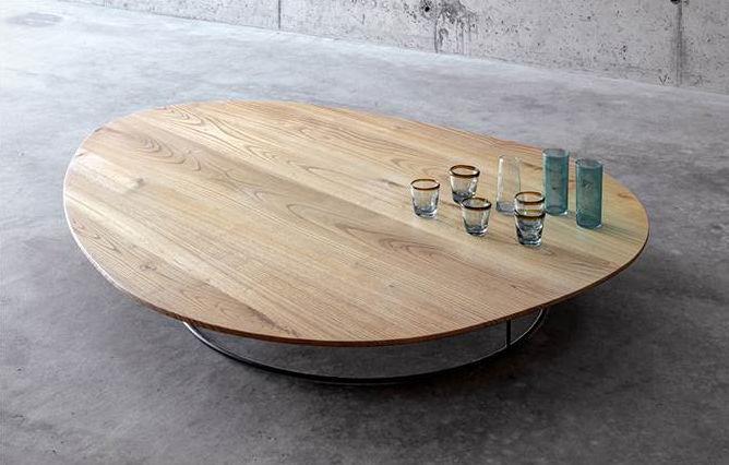 Contemporaine Basse En Noyer Table Châtaignier Ovale HE29WDIY