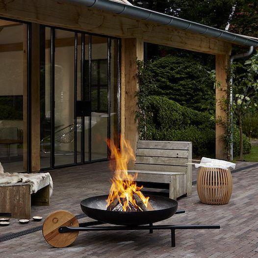 Brasero de jardin à bois / en acier / contemporain / avec ...