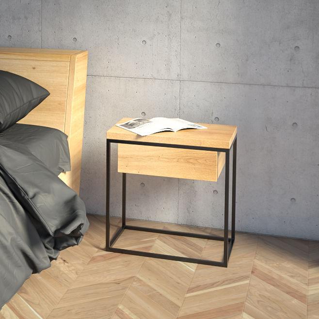 Table De Chevet De Style Scandinave En Chêne En Mdf