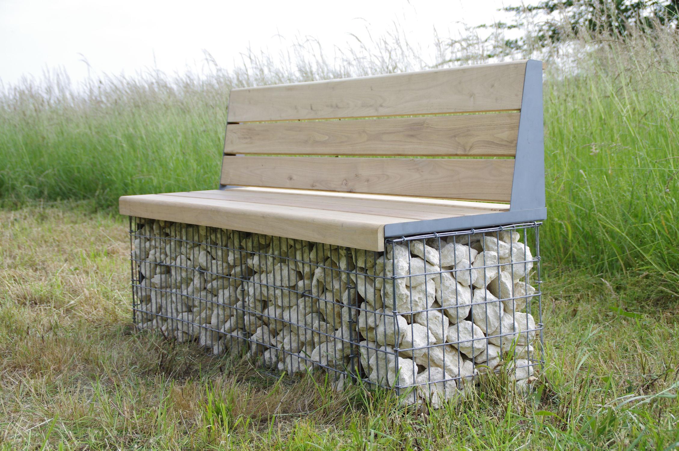 Banc public / de jardin / contemporain / en bois massif ...