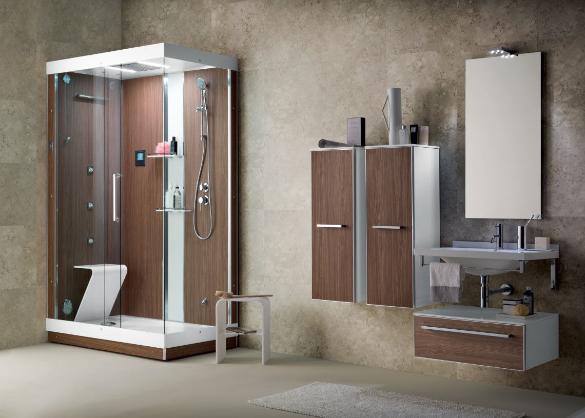 Salle de bain contemporaine / en bois / en verre - IL ...