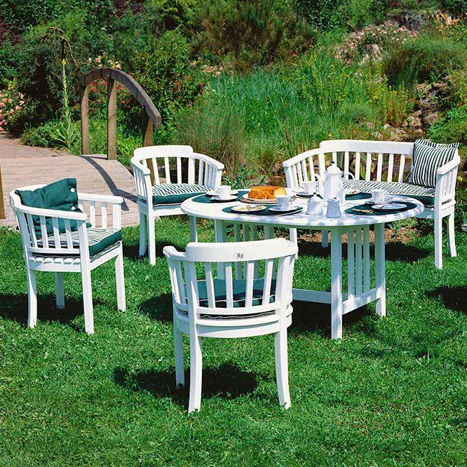 Table contemporaine / en plastique / ovale / de jardin ...