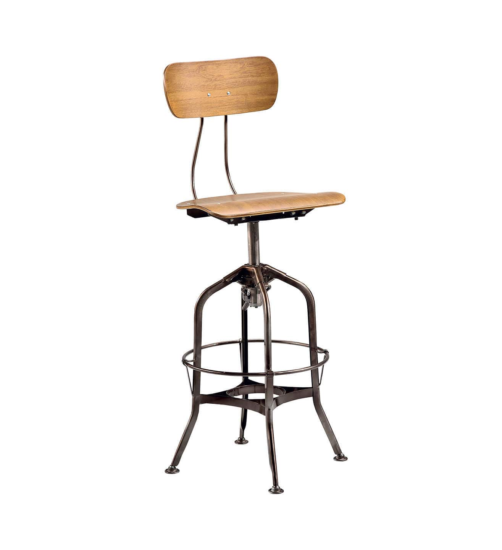 en Chaise industriel réglable bar style en de bois de 2EHID9