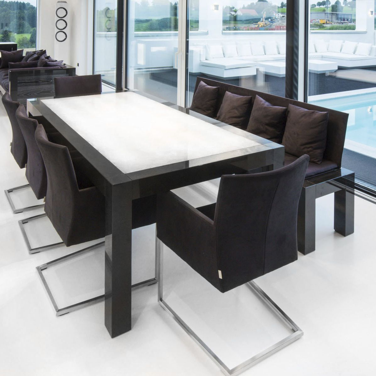 Table A Manger Contemporaine En Granite Rectangulaire Lumineuse Led Luis Design